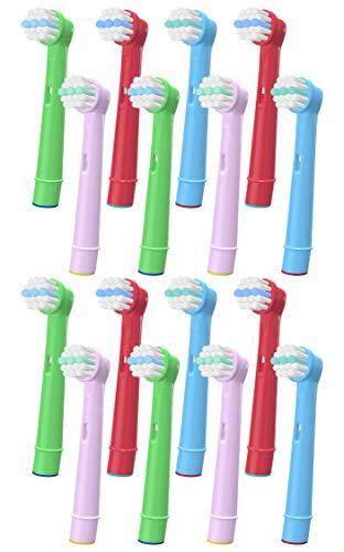 YanBan Sensitiv Aufsteckbürsten für Oral B Kinder Zahnbürste Aufsätze, 16er-Pack Mini Bürstenköpfe Ersatzbürsten