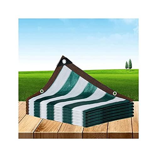 PLMOKN Schattentuch, Stripe Sun Protection Net perforiert Stärken Die Kanten Polyethylen Abdeckung Dachterrasse Balkon Auto Markise, 24 Größen (Color : Green, Size : 5x10m)