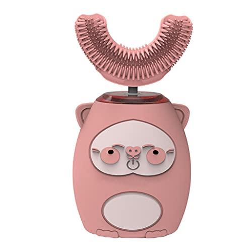 F Fityle Cepillo de dientes eléctrico en forma de U para niños, Cepillo de dientes ultrasónico Cepillo de dientes de modelado de dibujos animados tipo U, Modo - Rosa 2 a 7 años