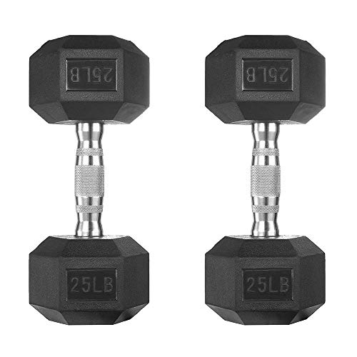 papababe Dumbbells Free Weights Dumbbells Weight Set Rubber Coated cast Iron Hex Black Dumbbell Pair (25, Pair)