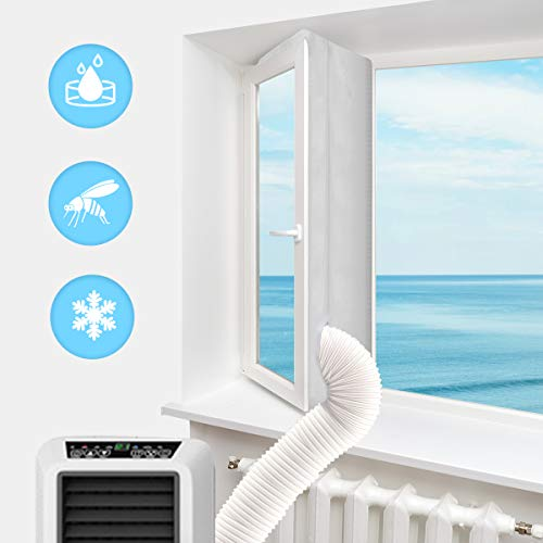 Luxiv Portable Air Conditioner Window Kit, 158' Window Seal Kit for Portable Air-Conditioning with Zip and Adhesive Fastener White Airlock Sliding Window Seal Cloth for Mobile AC (118in/ 300cm)