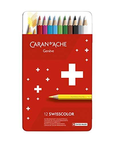 Caran d'Ache Swisscolor Étui en métal avec 12 crayons de couleur résistants à l'eau