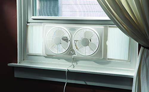Optimus F-5280 7-Inch Twin 2-Speed Window Fan, White