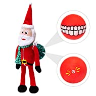 BINGPET Christmas Dog Squeaky Toys with Squeaky Ball, Cute Plush Toys, Pet Chew Toy Santa Claus for Small Medium Dogs