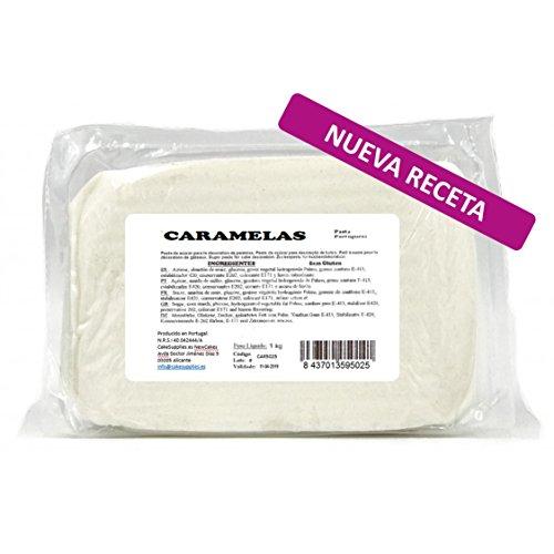 Caramelas Pasta Fondant Portuguesa Blanca: Fácil de Usar, Flexible, para Repostería Casera y Profesional, Sin Gluten, 1kg