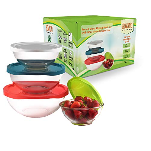 Glass Mixing Bowl Set with Airtight Lids