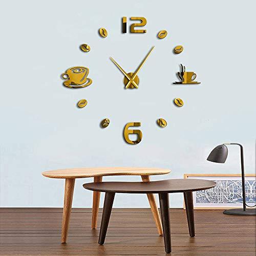 KKLLHSH Café DIY Reloj de Pared Grande Sin Marco Reloj de Pared Gigante Café Taza de café Grano de café Decoración de Pared Reloj de Pared de cocina-37_Inch