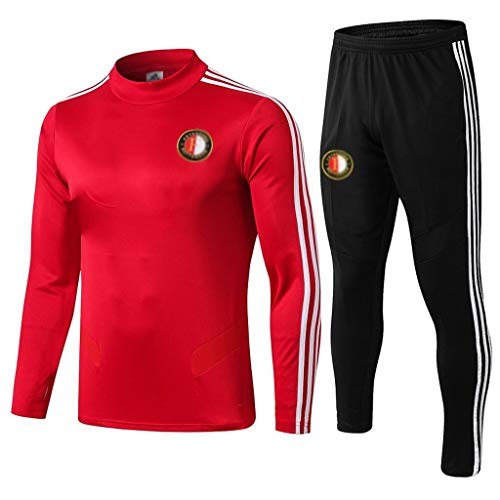 European Football Club Männer Fußball Sweatshirt Langarm Frühling und Herbst Breathable Sport Red Trainings-Uniform (Top + Pants) -ZQY-A0459 (Color : Red, Size : L)