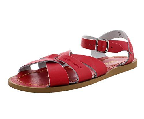 Salt-Water Women's Original Sandals Waterproof Plaited Leder Upper, Rot, 4