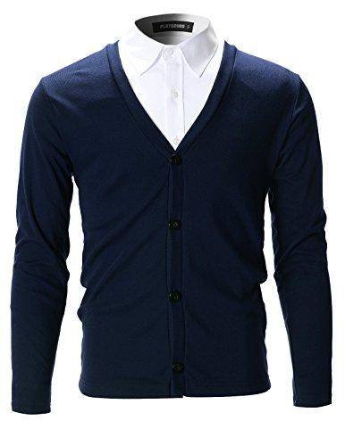 Flatseven - Cardigan da uomo, aderente ed elegante Navy XL