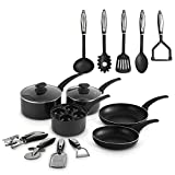 VonShef 15pc Aluminium Pan Set - Non-Stick Cookware Set with Frying Pan and Utensils, Suitable for All hobs...