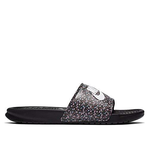 Nike Benassi JDI Print, Sandal Mujer, Black/White-Light Arctic Pink-Baltic Blue, 36.5 EU
