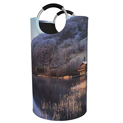 N\A Cesto de lavandería Grande de 82 l, cesto de lavandería de Tela Plegable con Cabina de reflexión del Lago, Bolsa de Ropa Plegable, cesto de Almacenamiento Plegable para lavadero