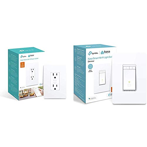 Kasa Smart KP200 Plug by TP-Link & Smart HS220 Dimmer Switch by TP-Link, Single Pole, Needs Neutral Wire, Wi-Fi Light Switch for LED Lights, Compatible with Alexa and Google Assistant, 1-Pack