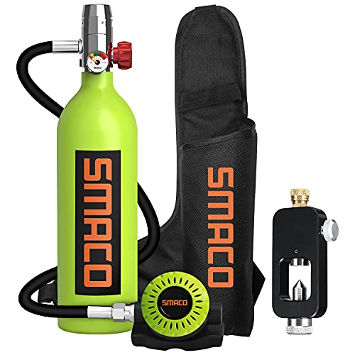 roadwi Smaco S400B 1 Liter Scuba Tank Upgrade Mini Scuba Diving Gear Portable Diving Equipment Inflatable Diving Cylinder 15-20 Minutes Underwater for Emergency Backup with Adapter-Green