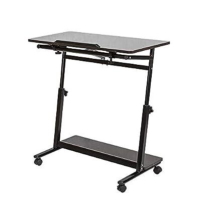 Ansley&HosHo C Shaped Mobile Small Overbed Computer Desk on Wheel Movable Adjustable Laptop Table Cart Slide Under Sofa Bed Rolling Desk Tray Table for Eating Reading on Hospital