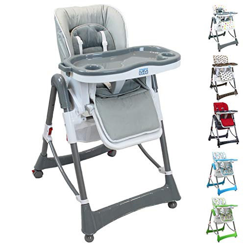 Monsieur Bébé ® Chaise haute enfant pliable, réglable hauteur, dossier et tablette