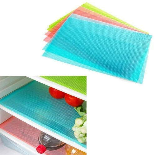 LVEDU - Tappetino per frigorifero, 4 pezzi, 3 colori, antiscivolo, per frigorifero, cucina, rivestimento antibatterico, anti-muffa, umidità 4PCS