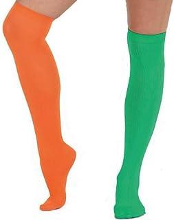 PARTY DISCOUNT Calcetines por encima de la rodilla para niños, uno verde y otro naranja, talla L, 39-42