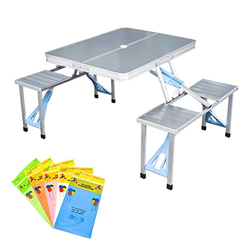 MOAMUN Siamese Folding Table and Chairs Set, Portable Picnic Camping Table and Beach Set with 4 Seats for outdoor travel Field Kitchen Garden BBQ (with Disposable Tablecloth)
