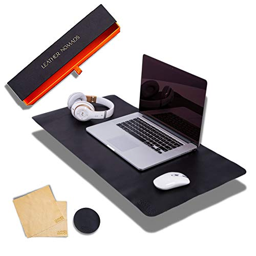 Leather Desk Pad by Leather Nomads - with Coaster and Lens Wipe, 31.5 Inch x 15.7 inch, Black | Premium Quality Hand Made Leather Desk Mat | Functional Large Leather Mouse Pad | Work & Home Office