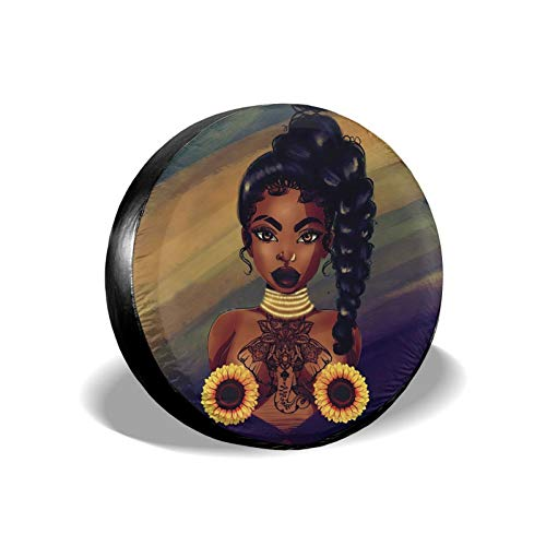 KXT African American Women2 Spare Tire Covers,Dust-Proof Sunscreen Weather-Proof Tire Cover for Jeep RV SUV Truck Camper Accessories