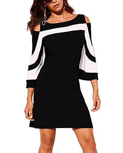 YOINS T-Shirt Damen Elegant Herbst Oberteile Damen Sexy Bluse Schulterfrei Casual Tops, Kleid-schwarz, Gr.- XL