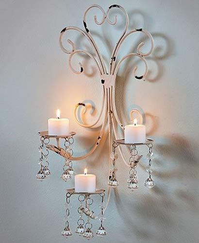 Wall Chandelier Candle Holder Sconce Shabby Chic Elegant Scrollwork Decorative Metal Vintage Style Decorative Home Accent Decoration
