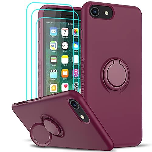 LeYi per Cover iPhone SE 2020,Cover iPhone 8 iPhone 7 iPhone 6S 6 Custodia con Vetro Temperato [3 Pack], Silicone Liquido Antiurto 360° Anello Ring Supporto Case TPU Bumper Gel Morbida Custodie Rosso