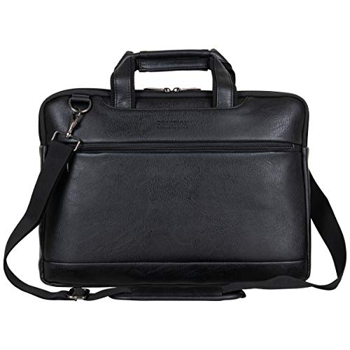 Kenneth Cole Reaction ProTec Faux Pebbled Leather Slim 16' Laptop Business Briefcase / Tablet Bag, Black