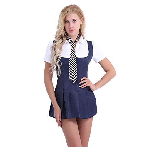 Freebily Damen Schulmädchen Kostüm Cosplay Uniform Versuchung Girl Dessous Set Kurzarm Shirt Student Kleid mit Krawatte Navy Blau+Weiß S