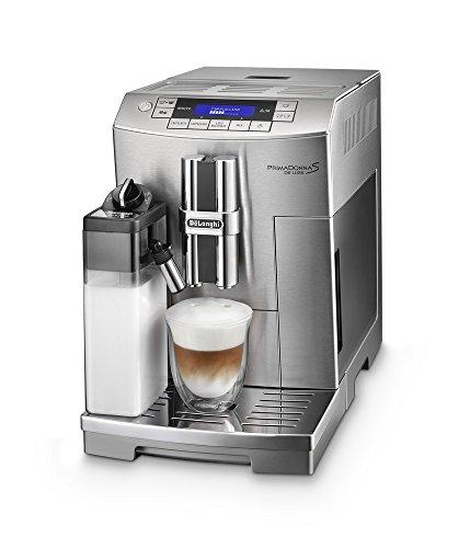 De'Longhi PrimaDonna S De Luxe ECAM 28.466.M Kaffeevollautomat (Digitaldisplay, integriertes Milchsystem, Lieblingsgetränke auf Knopfdruck, Edelstahlgehäuse, 2-Tassen-Funktion) silber