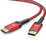 Câble DisplayPort 4K, ALCLAP Câble DP 144Hz Haute Vitesse -[4K@60Hz, 2K@165Hz, 2K@144Hz], Câble Display Port 2M Nylon Câble pour Ordinateur Portable/TV/PC ASUS/Dell - Câble de Moniteur de Jeu
