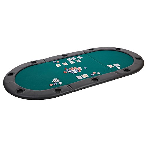 Dporticus 10 Players Tri-Fold Poker Game Table Top with Cushioned Rail and Cup Holders