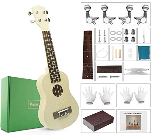 DIY Ukulele Kit Build Your Own Soprano Ukulele Kit Handmade 21 Inch Hawaii Ukulele DIY Kit for Boys Girls Kids Teens Adults Beginners Amateur...