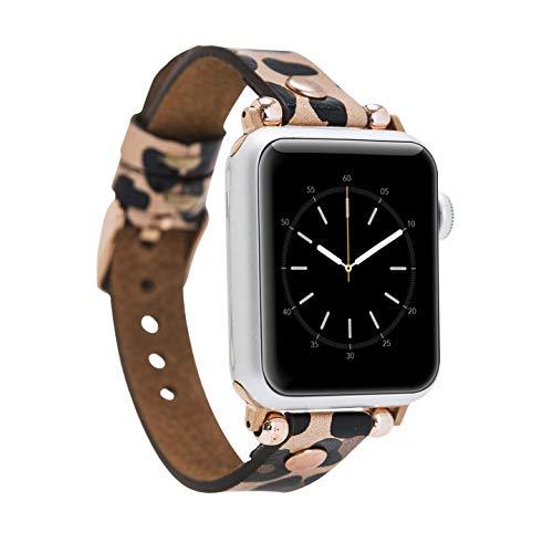 Renna - Pulsera de piel auténtica compatible con Apple Watch Serie SE, 6 y 5/4/3/2/1, hecha a mano, 44 mm, 42 mm, 40 mm, 38 mm, para hombre y mujer (38 – 40 mm, leopardo, conector de oro rosa)