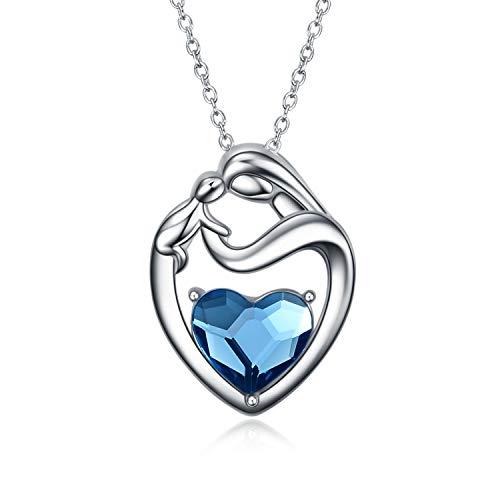 Mutter Tochter Kette Sterling Silber 925 Herz Anhänger Halskette mit Kristallen von Swarovski, Geburtstagsgeschenk für Mama Kinder (Blau)
