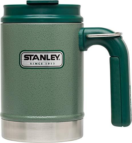 Stanley Classic Thermo-Henkelbecher, 0.47 L, Hammertone Green, 18/8 Edelstahl, doppelwandig isoliert, Camping Tasse Thermobecher Campingbecher Metallbecher
