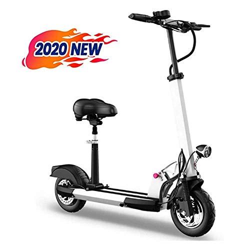LUO Bicicleta Eléctrica 2020 Scooter Eléctrico de Moda Adulto Plegable 30Km / H Batería de Litio 48V13Ah E-Scooter con Motor 500W 2 Ruedas Neumáticos de 10 Pulgadas con Luz Led Y Pantalla de Alta Def