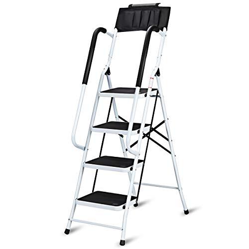 COSTWAY Trittleiter Klapptritt Stehleiter Haushaltsleiter Stufenleiter Stufenstehleiter 4 Stufen klappbar mit Handlauf Sicherheitsbügel Klappsicherung Metall