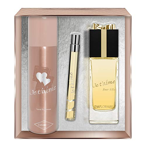 EVAFLORPARIS Je T'Aime pour Elle Coffret pour Femme Eau de Parfum 100 ml + Déodorant 150 ml + Vapo de Sac 12 ml 1 Unité