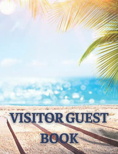 Visitor Guest Book: Premium Template Sign In Book for Visitors, 120 Pages, 8.5 x 11 inches, Cream