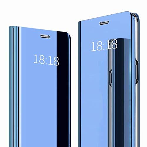 HUUH Hülle für Sony Xperia 10 Plus,Hochwertige PU-Handyhülle, Flip-Cover, Bracket-Funktion, intelligenter Plattierungsfall, Spiegel-Ledertasche(Blau)
