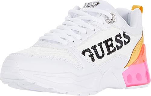 GUESS Gwtandey3 Sneaker da donna, Bianco (Infradito colorati estivi, con finte perline), 38.5 EU