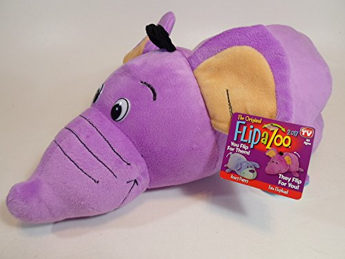 """FlipaZoo 16"""" inch Azury Puppy EWA Elephant 2-in-1 Stuffed Animal 16' Pillow with 2 Sides of Fun for Everyone - Each Huggable Character is Two Wonderful Collectibles in One"""