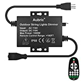 Outdoor Dimmer Switch for String Lights, 1000W Max Power IP68 Waterproof Wireless RF Remote Control Timer Switch, 3 Prong Outlet Plug-in Dimmer for Dimmable LED String Lights Patio Lights