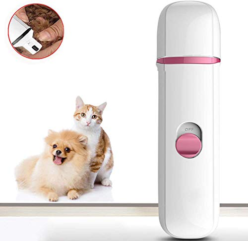 FZSWW Portable Dog Nail Grinder,USB Electric Pet Nail Grinders Trimmers Gentle Paws Premium Clipper Nail Grooming Tools Best for Cats,Dogs and Other Medium,Pink