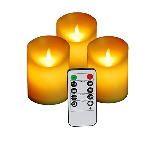 """SaferCCTV Flameless Candles, Battery Operated Candles, 3pcs 4"""" Pillar Real Wax Flameless LED Candles Set with Remote Control, for Christmas, Birthday, Wedding, Valentine's Day, Graduations, Bar, Party"""