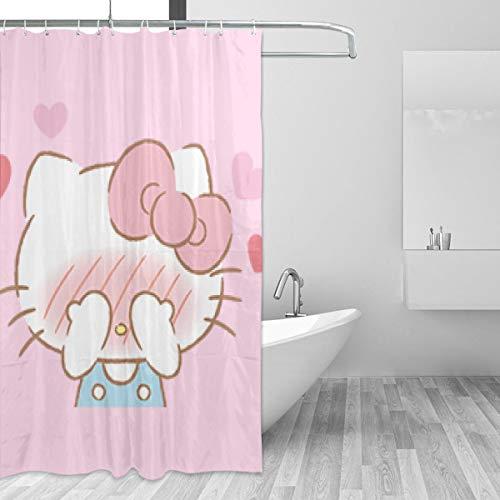 BLACKbiubiubiu Hello Kitty Cortina de ducha estampada 152 x 183 cm, cortina de baño impermeable