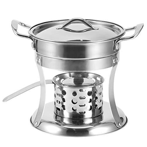 Fonduepan Van Roestvrij Staal - 17 cm Buitenshuis Alcohol Hot Pot Stove Fonduebrander Shabu Shabu Pot met Brandbluskap & Anti-Verbranding Handvat voor Thuis Restaurant Camping Kookgerei